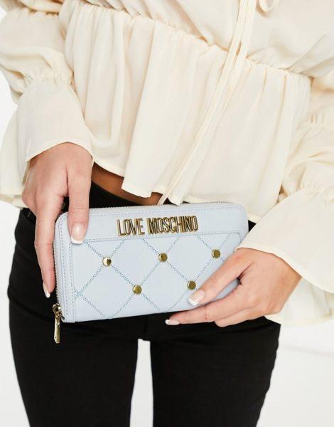 Love Moschino - Geldbörse mit Nieten in Blau