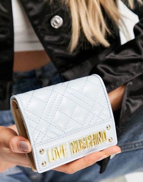 Love Moschino - Geldbörse mit gestepptem Umschlag in Blau