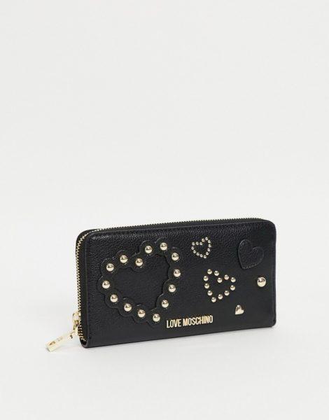 Love Moschino - Längliche Geldbörse mit Nietenherz in Schwarz