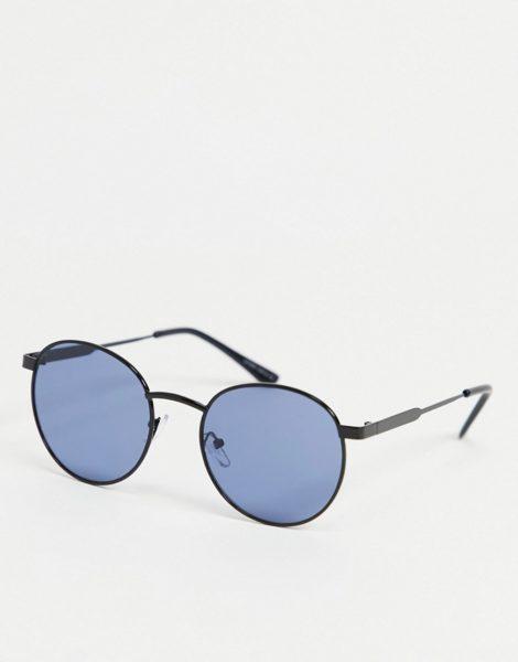 Only & Sons - Runde Sonnenbrille in Graphit mit blauen Gläsern-Grau