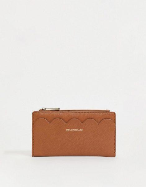 Paul Costelloe - Geldbörse aus Leder mit Bogenkante in Hellbraun