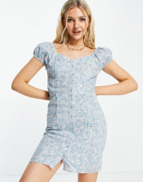 Pimkie - Durchgeknöpftes Kleid in Blau geblümt mit Flügelärmeln