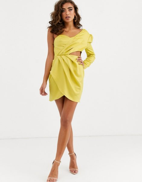 Public Desire - One-Shoulder-Träger-Kleid aus Satin mit gewickelter Vorderseite und Zierausschnitt-Gelb