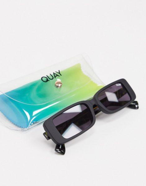 Quay - Art School - Schmale Retro-Sonnenbrille für Damen in Rauchschwarz und Schildpatt