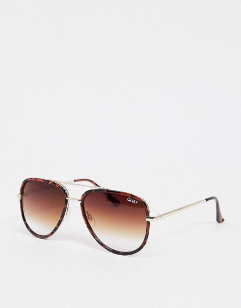 Quay Australia - All In - Unisex Mini-Sonnenbrille in Schildpatt-Optik-Braun