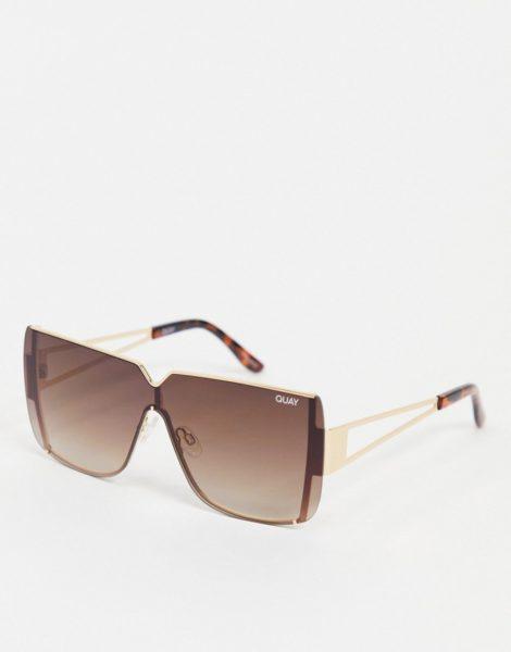 Quay - Blank Roll - Eckige Sonnenbrille für Damen, in Braun