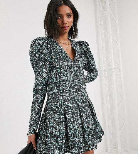 Reclaimed Vintage Inspired - Kleid mit Puffärmeln und abstraktem Karomuster-Mehrfarbig