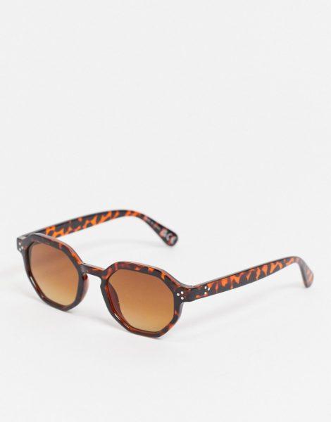 River Island - Sechseckige Sonnenbrille in Schildpattoptik-Braun
