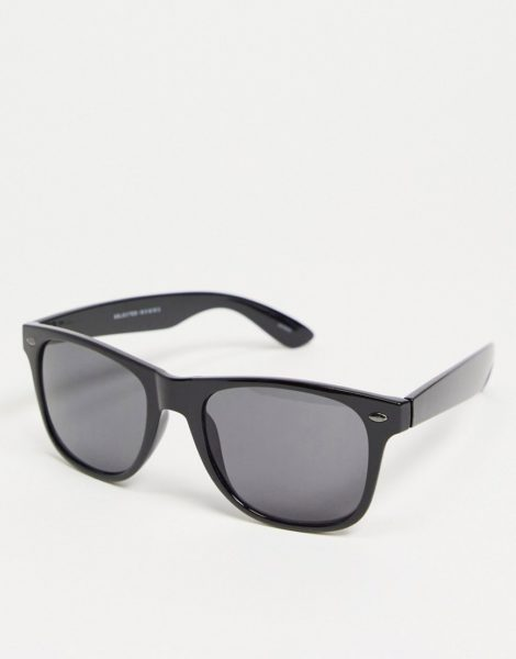 Selected Homme - Eckige Sonnenbrille in Schwarz
