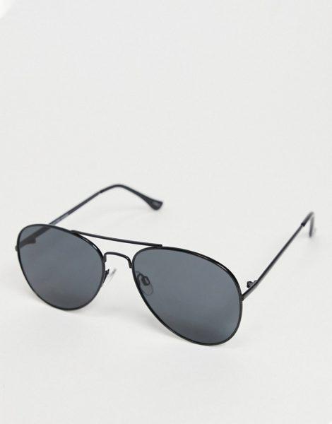 Selected Homme - Piloten-Sonnenbrille mit Brauensteg in Schwarz