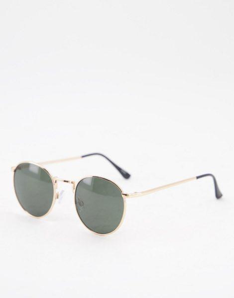 Selected Homme - Runde Sonnenbrille in Gold-Goldfarben