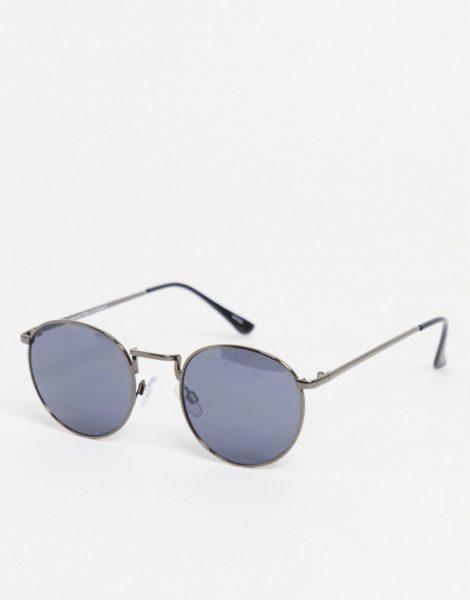 Selected Homme - Runde Sonnenbrille in Graublau-Metallic mit verspiegelten Gläsern-Schwarz