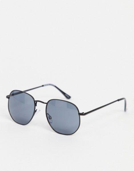 Selected Homme - Runde, abgeschrägte Sonnenbrille in Schwarz