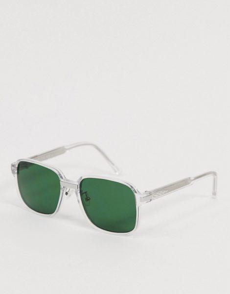 Spitfire - BTA - Übergroße, transparente Retro-Sonnenbrille mit grünen Gläsern-Grau