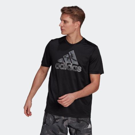 T-Shirt Fitness großes Logo Herren schwarz
