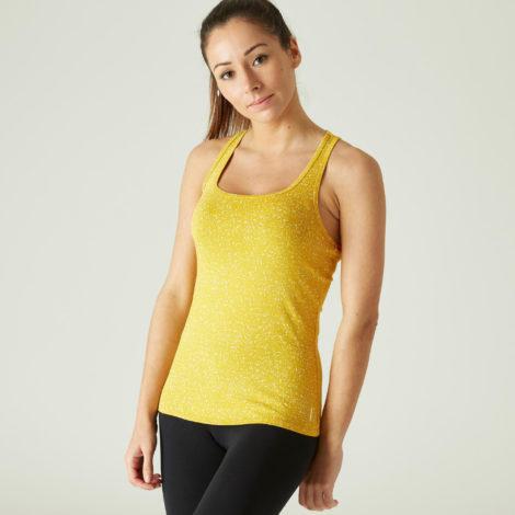 Top Fitness Baumwolle dehnbar Damen gelb mit Print