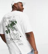 """Topman - Big & Tall - T-Shirt in Weiß mit """"Exhibit""""-Print vorne und hinten"""