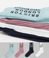 Topman - Bunte Socken mit Schriftzug im 4er-Pack-Mehrfarbig