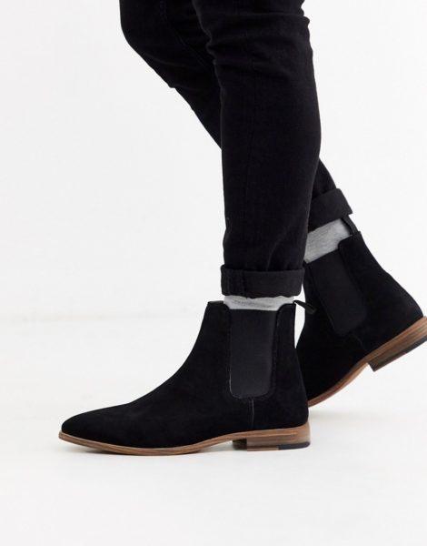 Topman - Chelsea-Stiefel aus schwarzem Wildleder