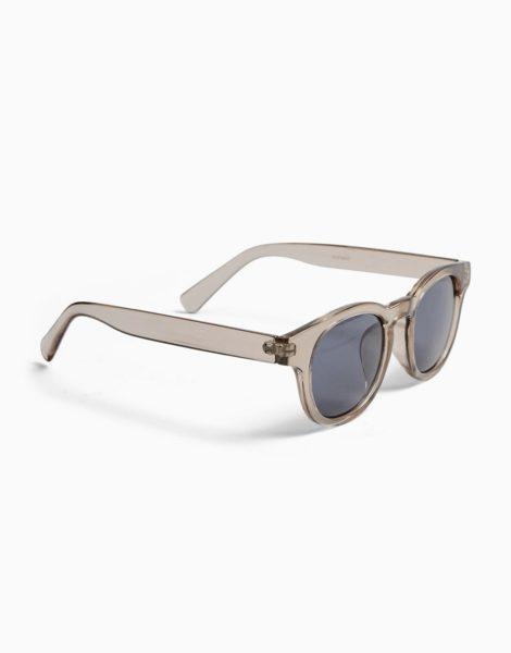 Topman - Graue Sonnenbrille mit rauchgrau getönten, runden Gläsern-Weiß