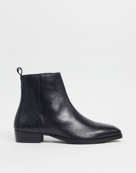 Topman - Kubanische Stiefel aus schwarzem Leder
