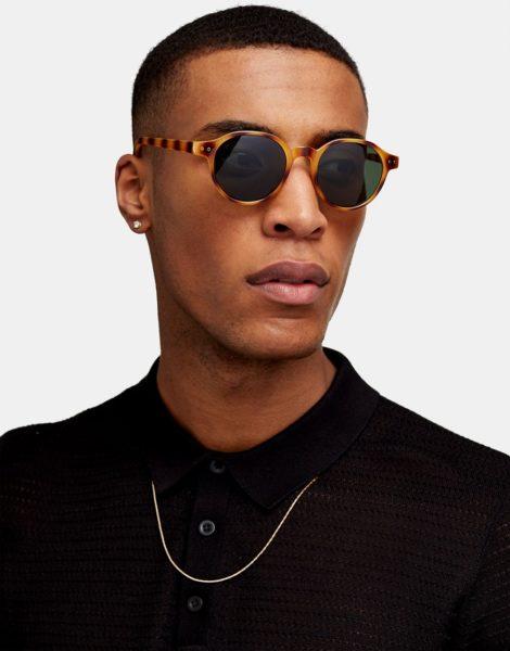 Topman - Runde Sonnenbrille mit Tigermuster in Braun