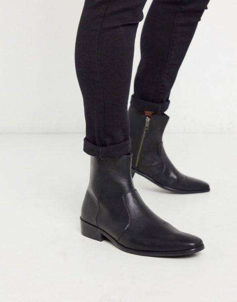Topman - Schwarze Stiefel aus Kunstleder mit kubanischem Absatz und Prägung