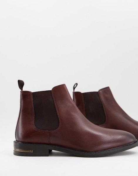 Walk London - Oliver - Chelsea-Stiefel aus braunem Leder mit Metallbesatz am Absatz