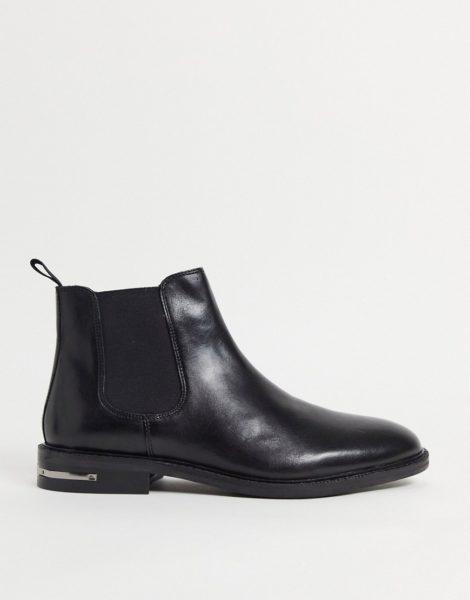 Walk London - Oliver - Chelsea-Stiefel aus schwarzem Leder mit Metallbesatz am Absatz