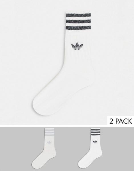 adidas Originals - Mittelhohe, glitzernde Socken in Weiß