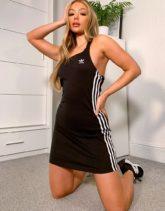 adidas Originals - adicolor - Bodycon-Kleid in Schwarz mit drei Streifen, Logo und Ringerrücken