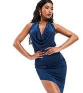 AS YOU - Rückenfreies, enges Kleid mit Kettendetail und Wasserfallausschnitt in Marineblau