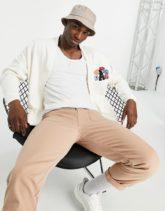 ASOS Actual - Strickjacke aus Jersey in Weiß mit Blumen- und Logostickerei-Neutral