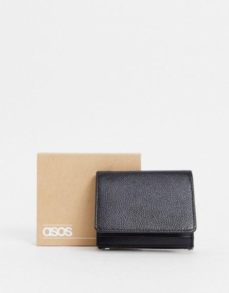 ASOS DESIGN - 2-in-1-Geldbörse aus Leder mit abnehmbarem Kartenetui in Schwarz