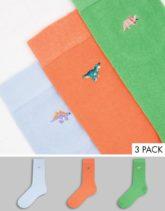 ASOS DESIGN - 3er-Pack Socken in Pastellfarben mit Dinosaurer-Stickerei-Mehrfarbig