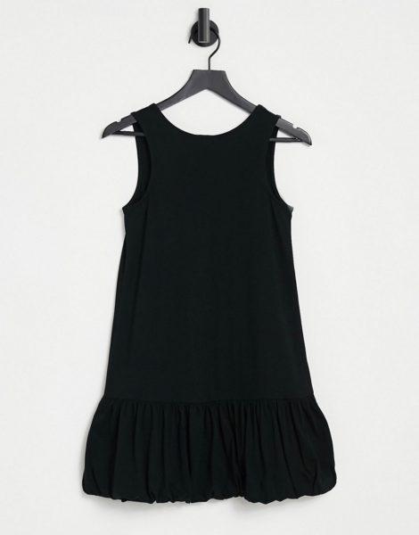 ASOS DESIGN - Ärmelloses Kleid in Schwarz mit V-Rückenausschnitt und Ballonsaum