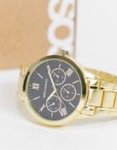 ASOS DESIGN - Armbanduhr in Goldton mit Zifferblatt in Schwarz-Goldfarben