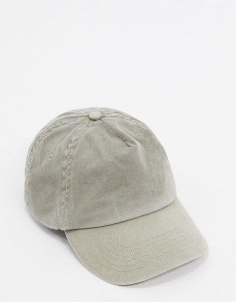 ASOS DESIGN - Baseballkappe in verwaschenem Khaki-Grün