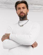 ASOS DESIGN - Breit gerippter Muskel-Pullover mit Stehkragen in Weiß