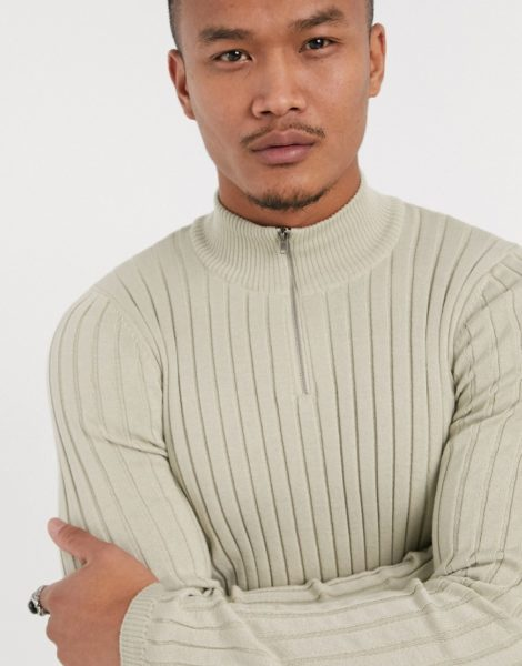 ASOS DESIGN - Breit gerippter Muskel-Pullover mit kurzem Reißverschluss in Beige-Neutral