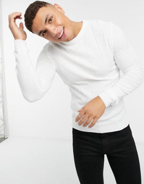 ASOS DESIGN - Breit gerippter Strickpullover in Weiß