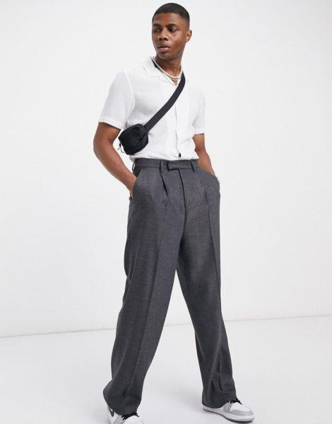 ASOS DESIGN - Elegante Hose aus Wollmischung mit hohem Bund und weitem Bein, in Anthrazit-Grau