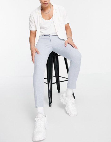 ASOS DESIGN - Elegante Hose aus Wollmischung mit superengem Schnitt und Hahnentrittmuster in Blau