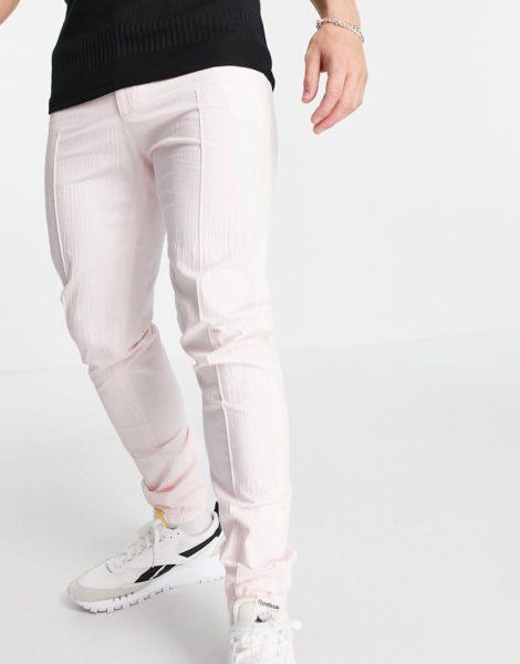 ASOS DESIGN - Elegante Hose mit engem Schnitt und sportlichen Bündchen aus rosa Seersucker
