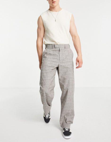 ASOS DESIGN - Elegante Hose mit extrem weitem Schnitt in Braun mit Prince Of Wales-Karomutser