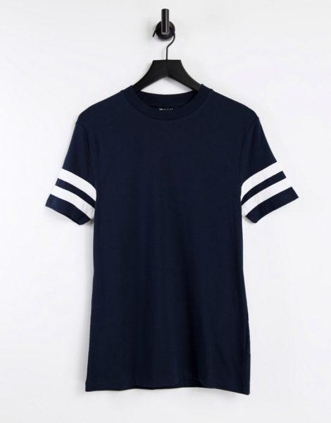 ASOS DESIGN - Eng geschnittenes T-Shirt in Marineblau mit farblich abgesetzten Streifen an den Ärmeln