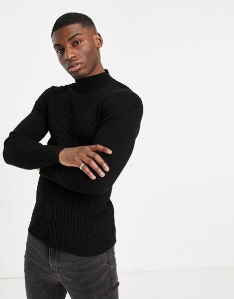 ASOS DESIGN - Gerippter Muskel-Pullover mit Stehkragen in Schwarz