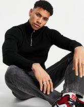 ASOS DESIGN - Gerippter Muskel-Pullover mit kurzem Reißverschluss in Schwarz