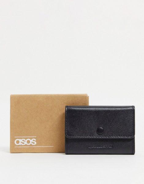 ASOS DESIGN - Kartenetui-Geldbörse mit mehreren Fächern aus schwarzem Saffianoleder