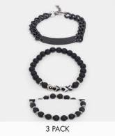 ASOS DESIGN - Kettenarmband mit Perlen und mystischem Achat im Set in Schwarz
